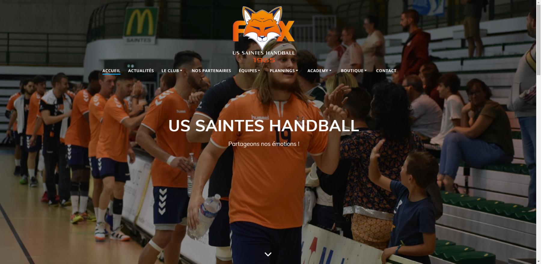 Réalisation site internet US Saintes Handball